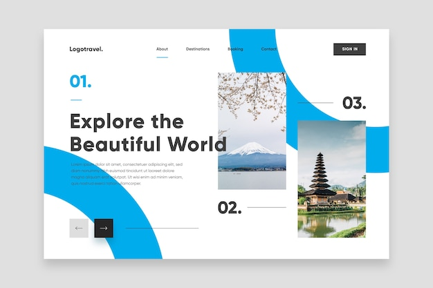 Explore the beautiful world landing page Free Vector