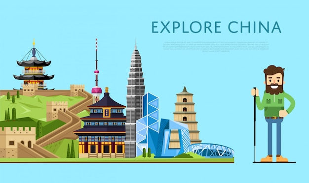 Explore china banner with smiling tourist Premium Vector