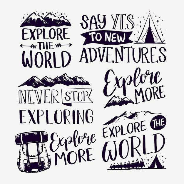 Esplora le scritte in campeggio sulle montagne Vettore gratuito