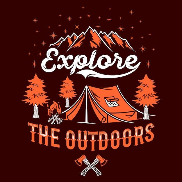 Explore the outdoor quotes saying Premium Vector