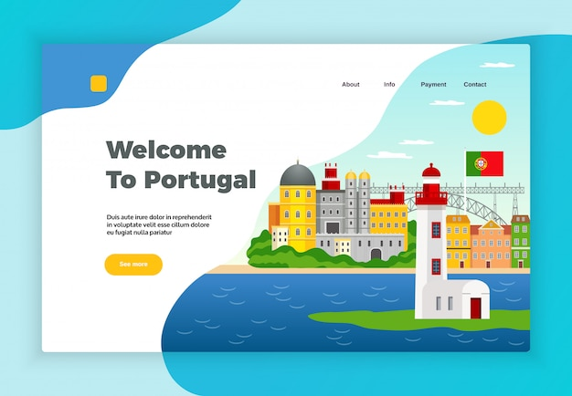 Explore portugal page desidn with payment and contact symbols flat Free Vector