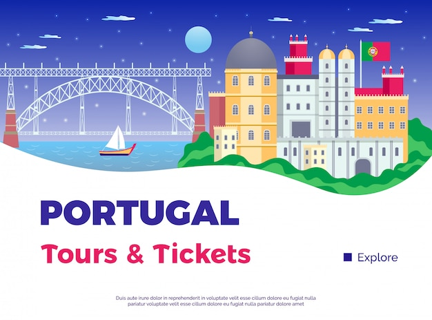 Explore portugal poster with tours and tickets symbols flat vector illustration Free Vector