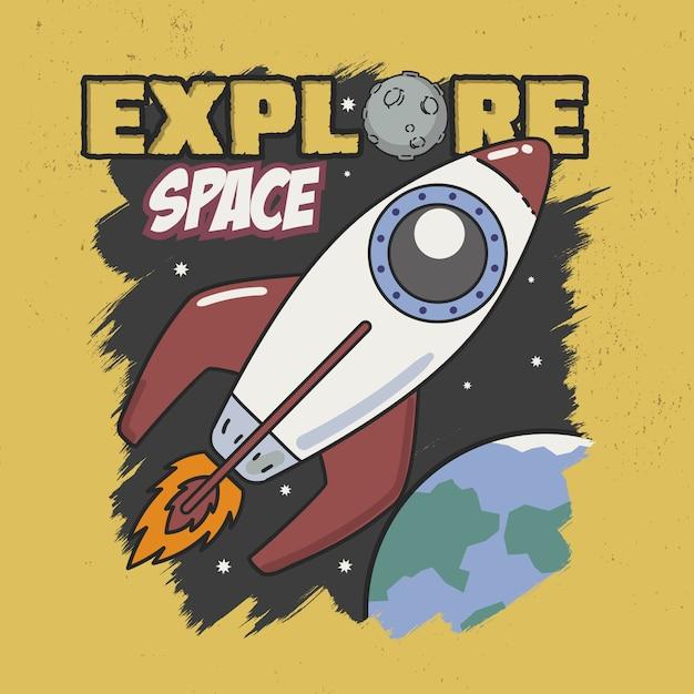 Explore space slogan good for tee graphic Premium Vector