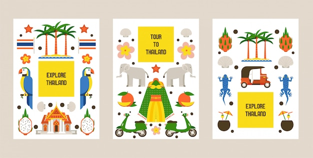 Explore thailand set of cards. traditions, culture of country. nature and animals Premium Vector