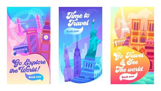 Изучите набор баннеров world typography. отдых в великобритании, америке и франции Premium векторы