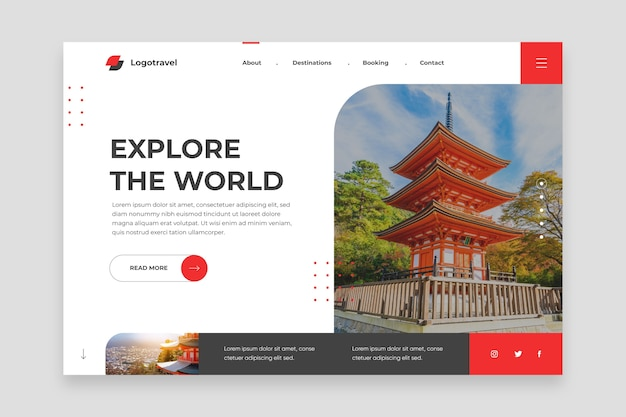Explore the world landing page Free Vector