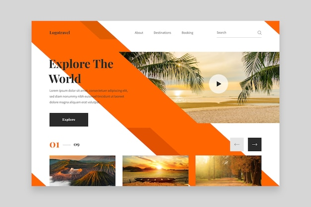 Explore the world resort hotel landing page Free Vector