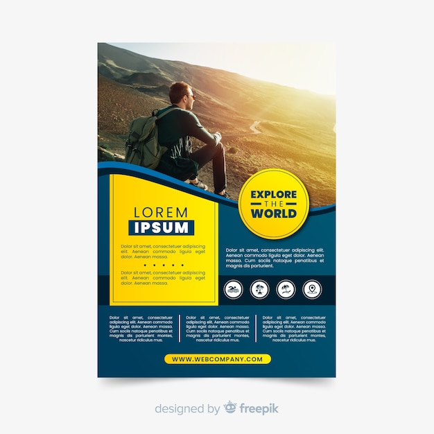 Explore the world travel flyer with photo Free Vector