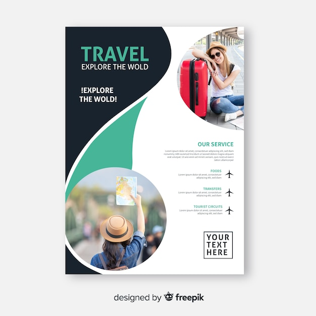 Explore the world travel poster with photo Free Vector