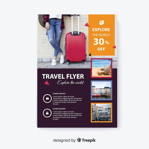 Explore the world traveller with luggage Free Vector