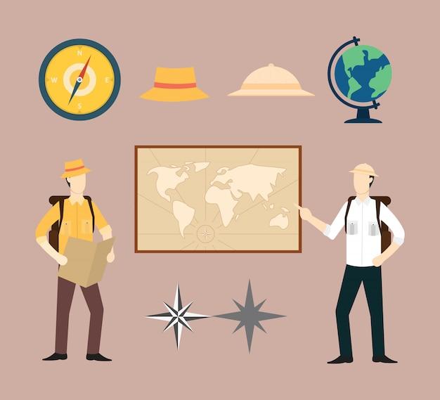 Explorer or adventure geography set collection Premium Vector
