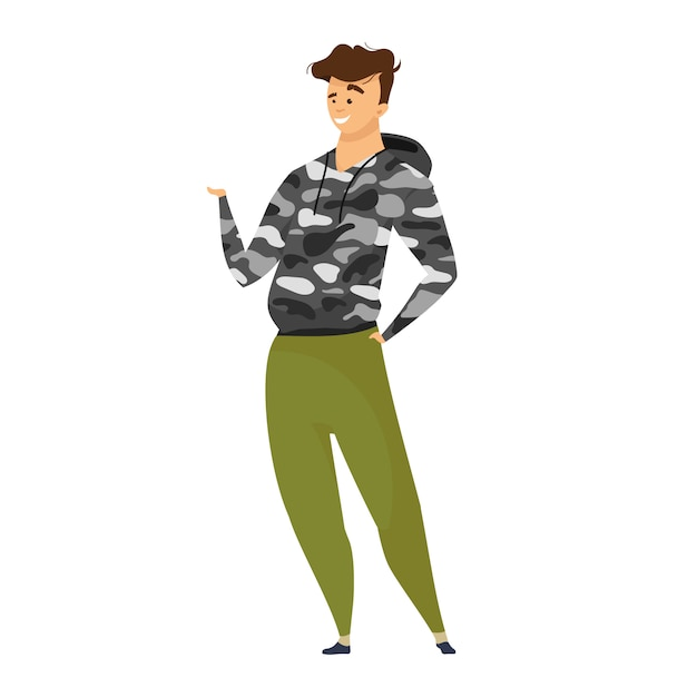 Explorer  color  illustration. adventurer in survival style clothes. male tourist in camouflage garment. active lifestyle cloth. expeditioner  cartoon character on white background Premium Vector