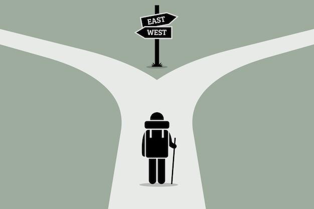 分割道路に到達するエクスプローラー。人生、意思決定、そして不確実な未来のコンセプトジャンクション。 Premiumベクター