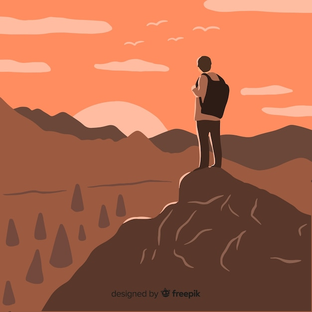 Explorer with backpack background Free Vector