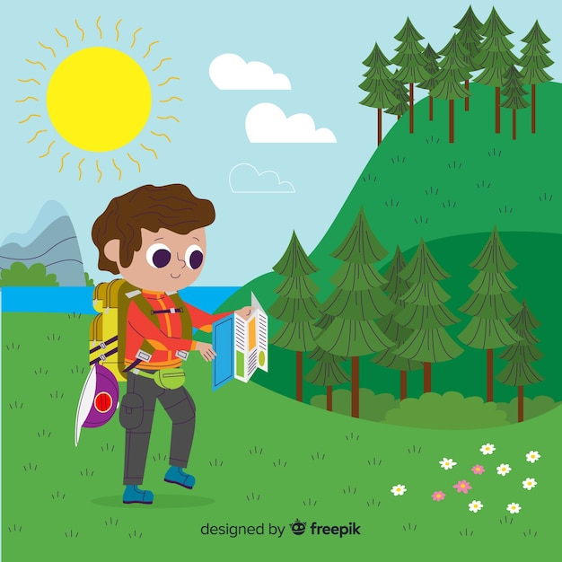 Explorer with backpack Free Vector