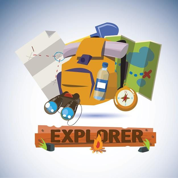 Инструменты explorer с дизайнерскими буквами. Premium векторы