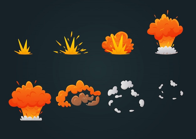 Explosion animation icon set Free Vector