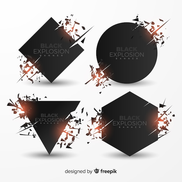 Explosion banner collection Free Vector