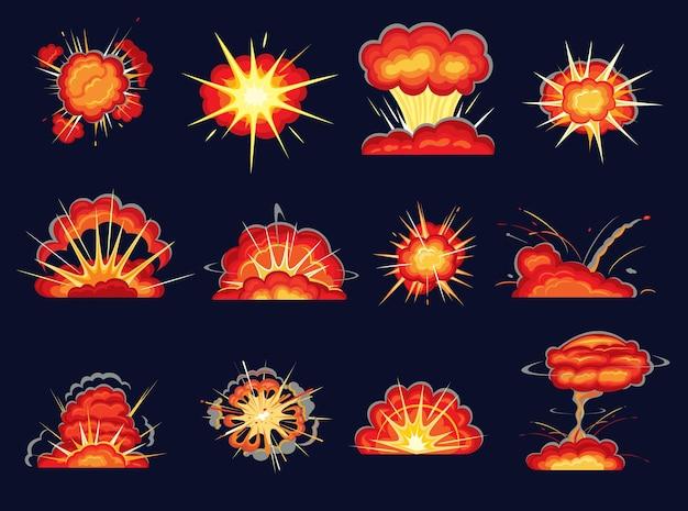 爆弾バーストとコミックブーム効果で設定された爆発爆発漫画。火と爆発力のフラッシュ、煙、炎、ほこりの雲と火花、漫画本とゲームのアニメーションデザインで爆弾の前髪 Premiumベクター
