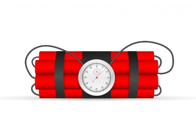 Обратный отсчет. tnt бомба замедленного действия с часами Premium векторы