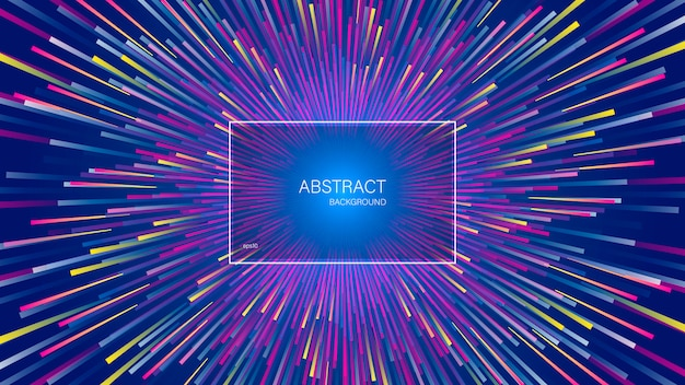 The explosion of dynamic lines or rays. abstract geometric background with centric motion. Premium Vector