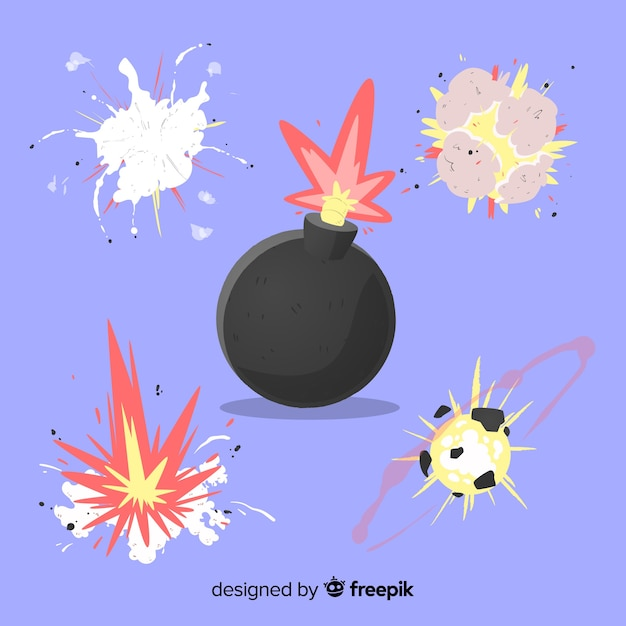 Explosion effect collection cartoon design Free Vector