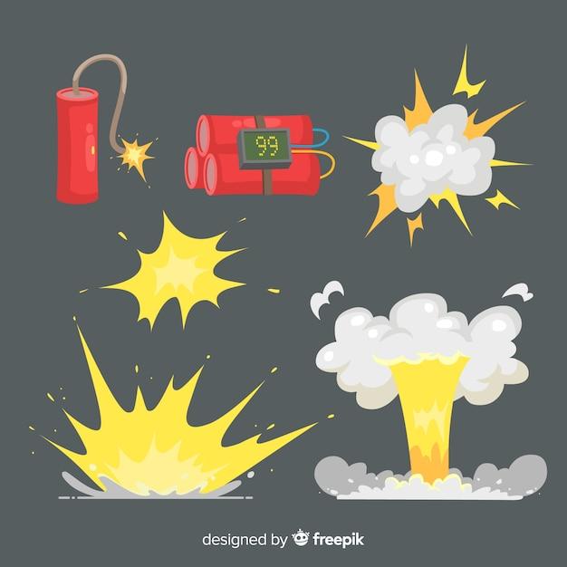 Коллекция эффектов взрыва мультфильм дизайн Бесплатные векторы