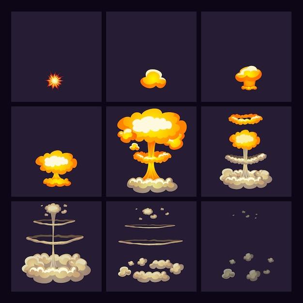 Set di icone di effetti di esplosione Vettore gratuito