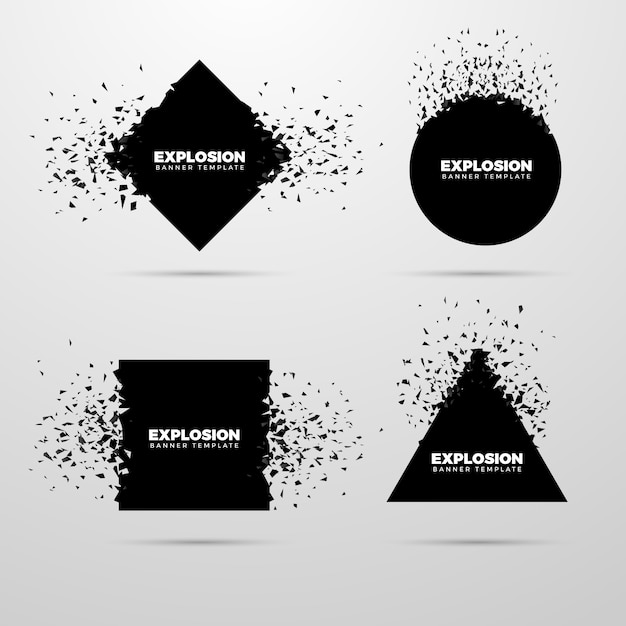 Explosion geometric banner set Free Vector