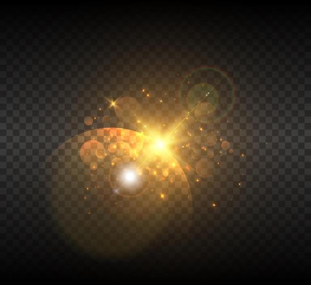 グレアと明るい光線による宇宙での星の爆発。 Premiumベクター