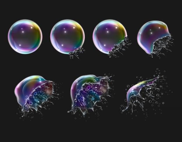Этапы взрыва реалистичные глянцевые круглые радуги мыльные пузыри на черном изолированные Бесплатные векторы