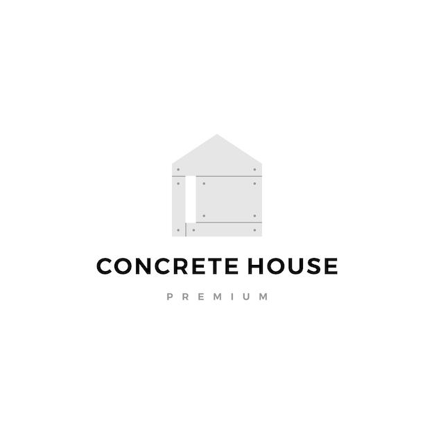 콘크리트 집 로고 아이콘 그림 노출 프리미엄 벡터