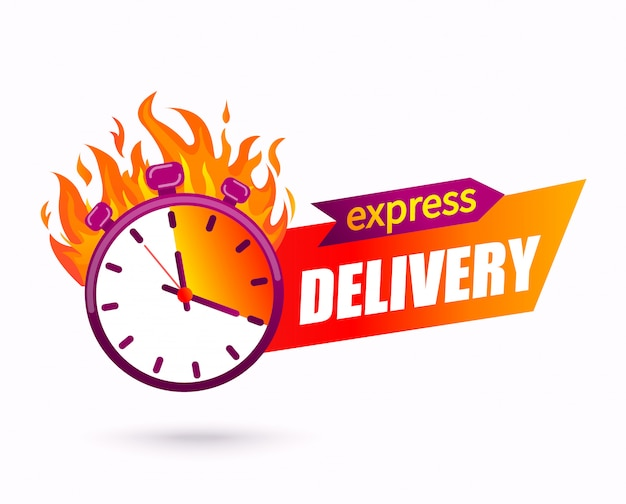 Express delivery concept. symbol of fast parcel and other shipping service for websites and apps. Pr