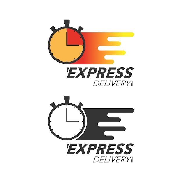 Express delivery icon concept. stop watch icon for service, order, fast and free shipping. modern design. Premium Vector