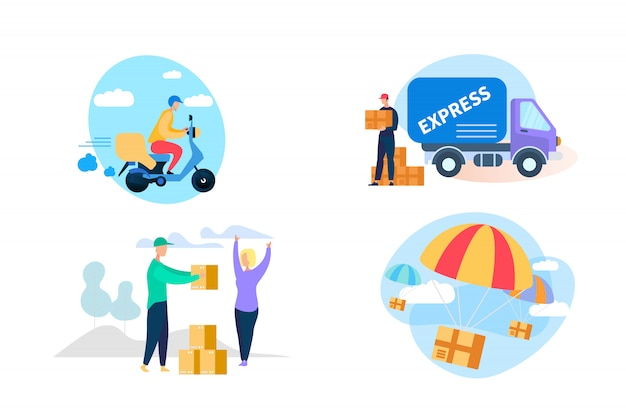 Express delivery icon set on white background. Premium Vector