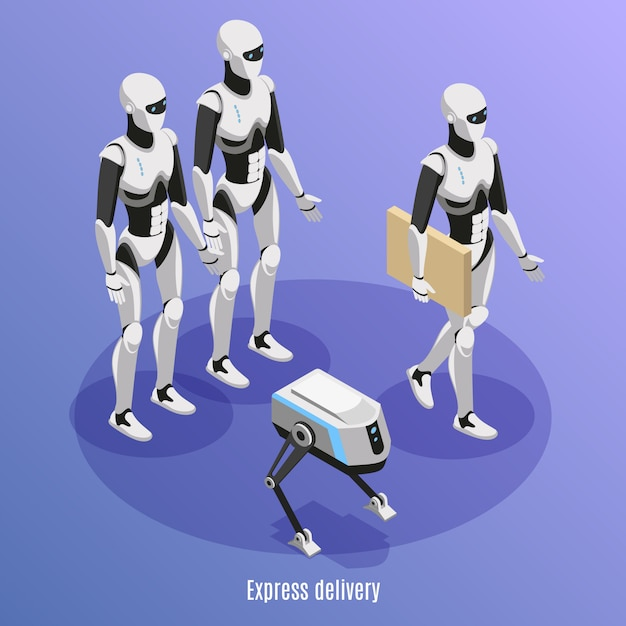Express delivery isometric background with different kinds of post robots performing functions of parcels carry  illustration Free Vector