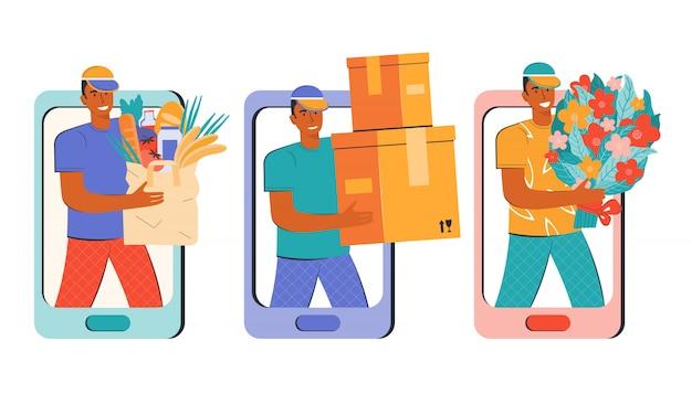 상품, 제품, 소포 및 꽃의 빠른 배송. 모바일 앱 또는 온라인 상점을 통한 온라인 주문. 남성 택배가 주문을 전달합니다. 스마트 폰으로 구매하십시오. 평면 삽화의 집합입니다. 프리미엄 벡터