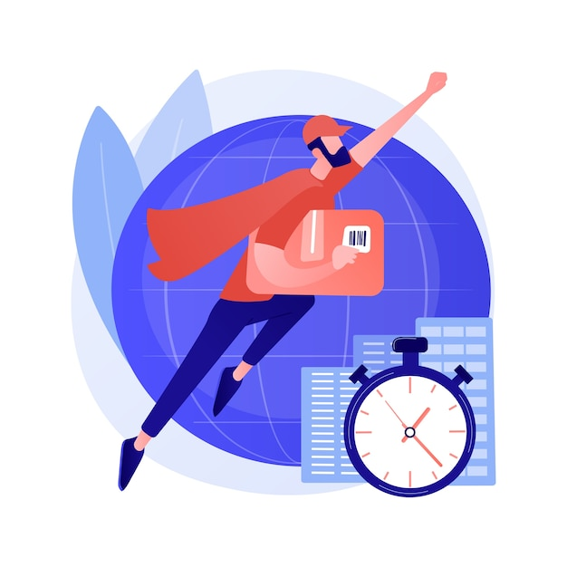 Express delivery service abstract concept vector illustration. air freight logistics, global postal mail, package delivery, fast shipping order, tracking number, post office abstract metaphor. Free Vector