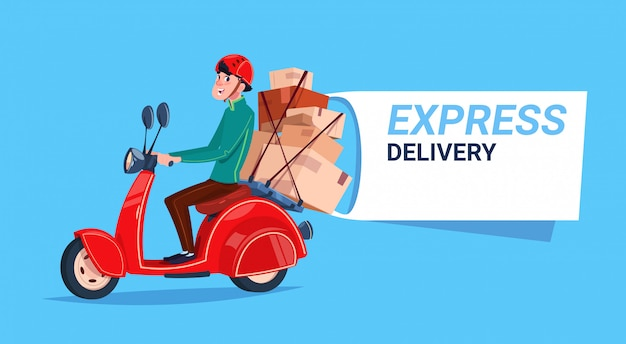 Express delivery service courier boy riding motor bike banner Premium Vector