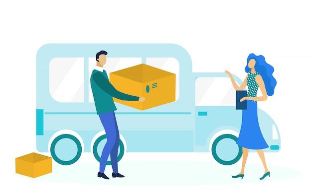 Express delivery service flat illustration Premium Vector