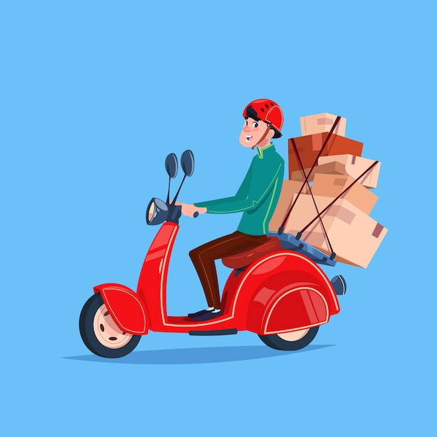 Express delivery service icon courier boy riding motor bike with boxes Premium Vector