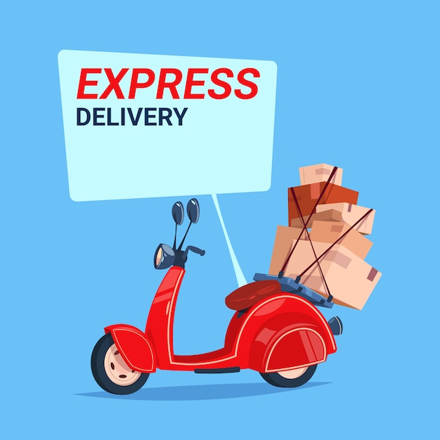 Premium Vector | Express delivery service icon retro motor bike with boxes  over blue background