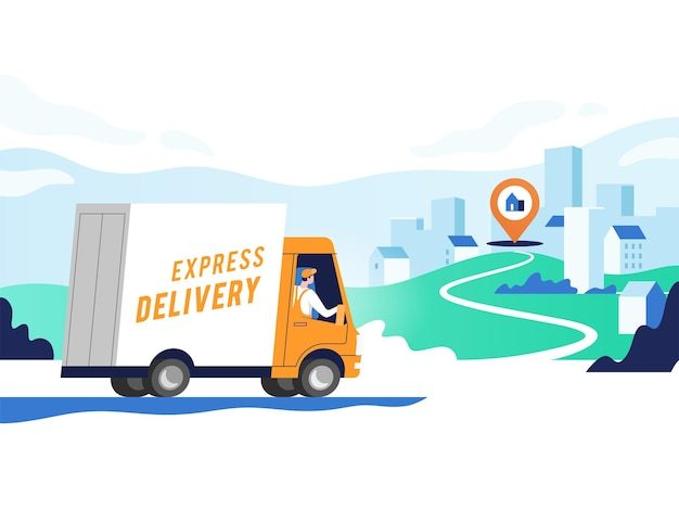 Premium Vector | Express delivery services and logistics. truck with man is  carrying parcels on points. concept online map, tracking, service.