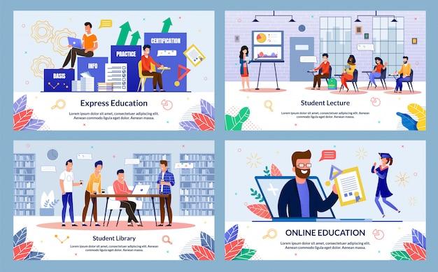 Express education slide set Premium Vector