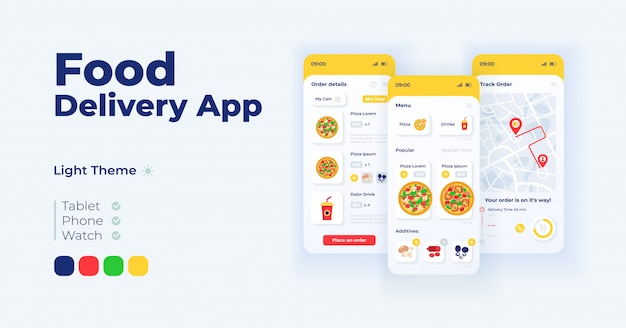 Express food delivery cartoon smartphone interface templates set Premium Vector