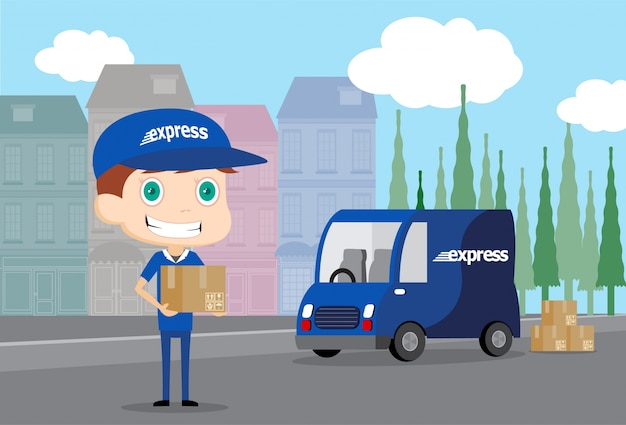 Express man and his truck Free Vector
