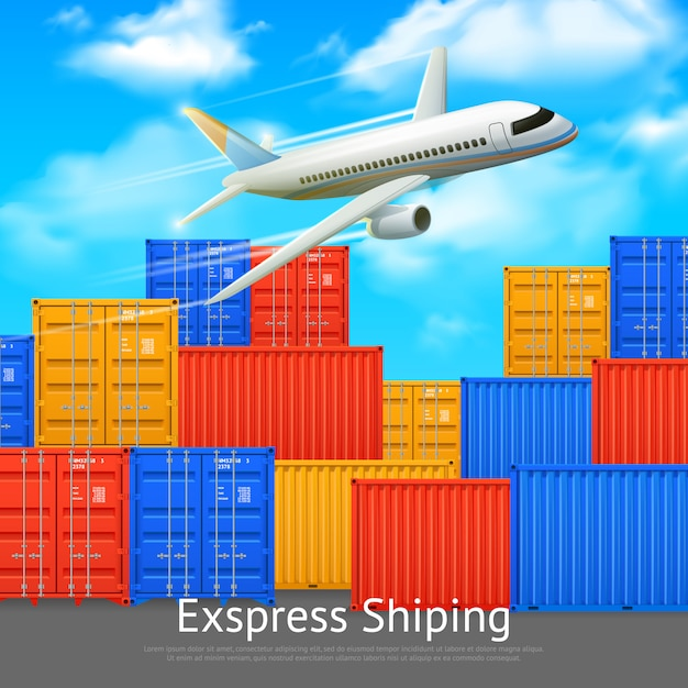 Express shipping poster with different colors Free Vector