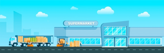 Express truck delivering goods to supermarket Free Vector