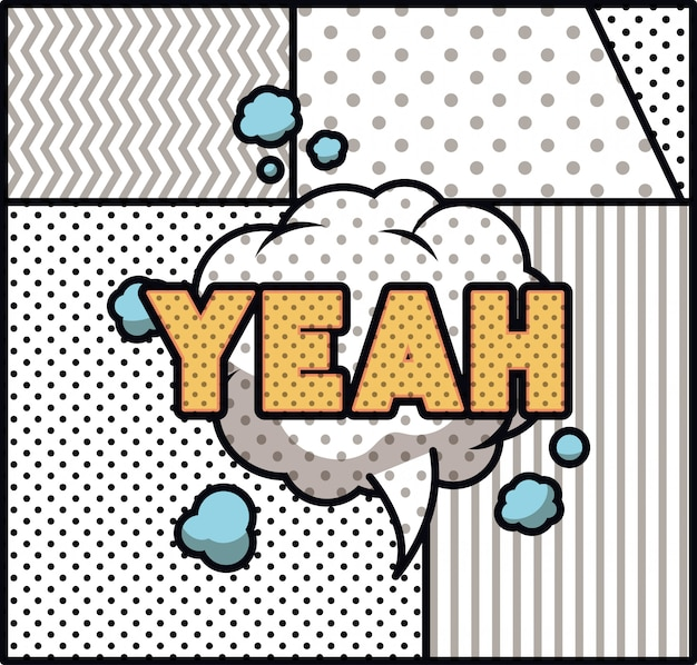 Expression bubble with yeah pop art style Premium Vector