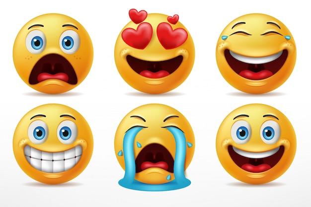 Выражение лица смайлик набор символов Premium векторы